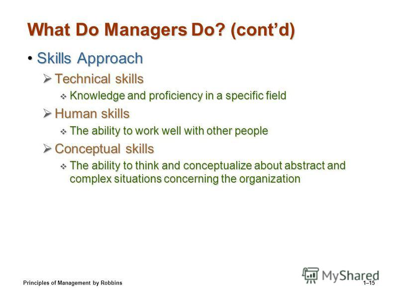 Principles of Management by Robbins1–15 What Do Managers Do? (contd) Skills ApproachSkills Approach Technical skills Technical skills Knowledge and proficiency in a specific field Knowledge and proficiency in a specific field Human skills Human skill