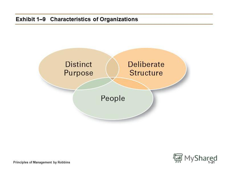 Principles of Management by Robbins1–21 Exhibit 1–9Characteristics of Organizations