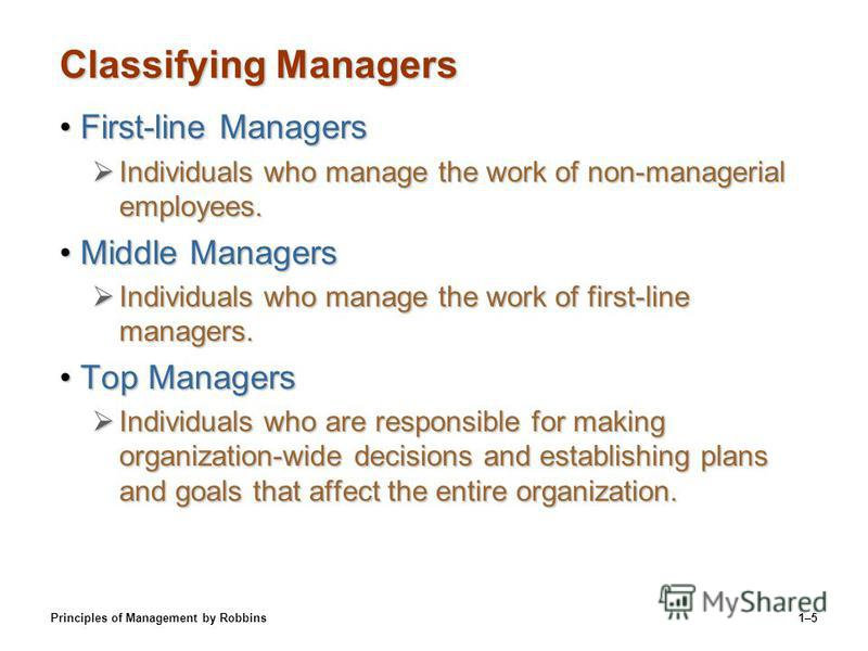 Principles of Management by Robbins1–5 Classifying Managers First-line ManagersFirst-line Managers Individuals who manage the work of non-managerial employees. Individuals who manage the work of non-managerial employees. Middle ManagersMiddle Manager