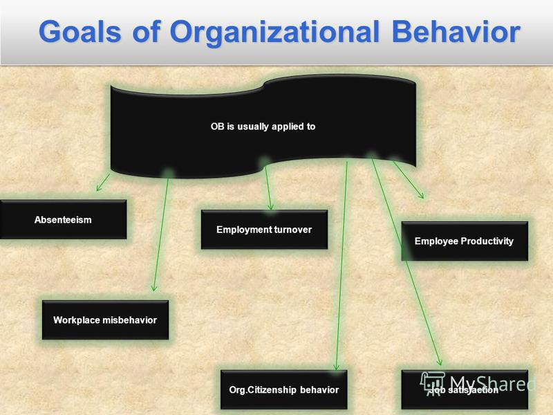 Goals of Organizational Behavior OB is usually applied to Absenteeism Employee Productivity Org.Citizenship behavior Workplace misbehavior Employment turnover Job satisfaction