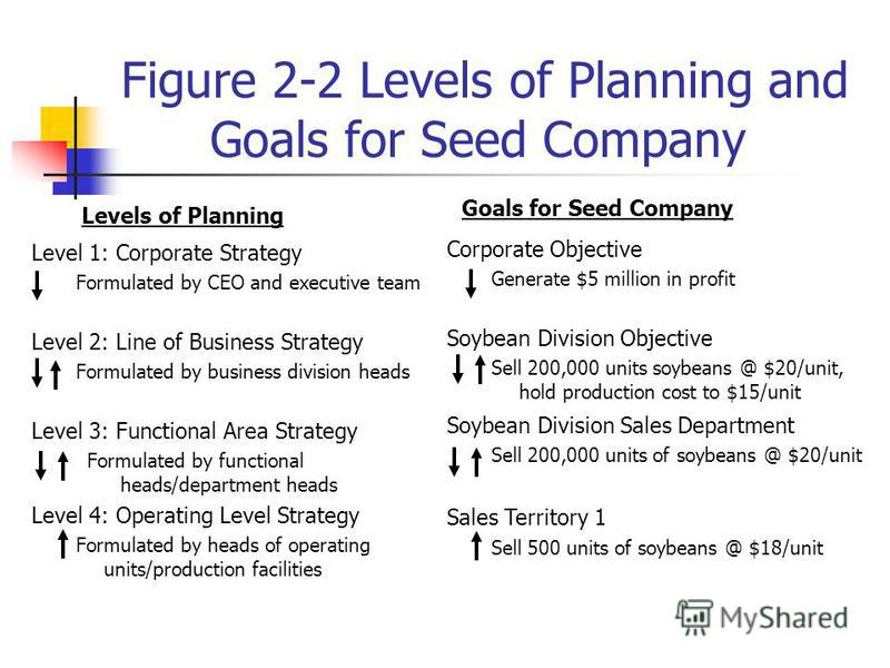 Figure 2-2 Levels of Planning and Goals for Seed Company Level 1: Corporate Strategy Formulated by CEO and executive team Level 2: Line of Business Strategy Formulated by business division heads Level 3: Functional Area Strategy Formulated by functio