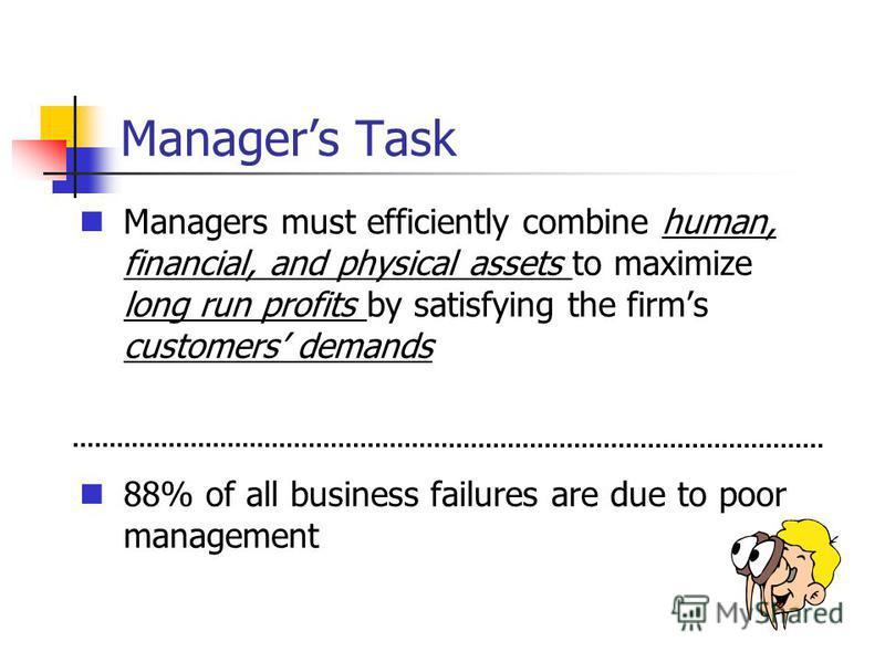 Managers Task Managers must efficiently combine human, financial, and physical assets to maximize long run profits by satisfying the firms customers demands 88% of all business failures are due to poor management