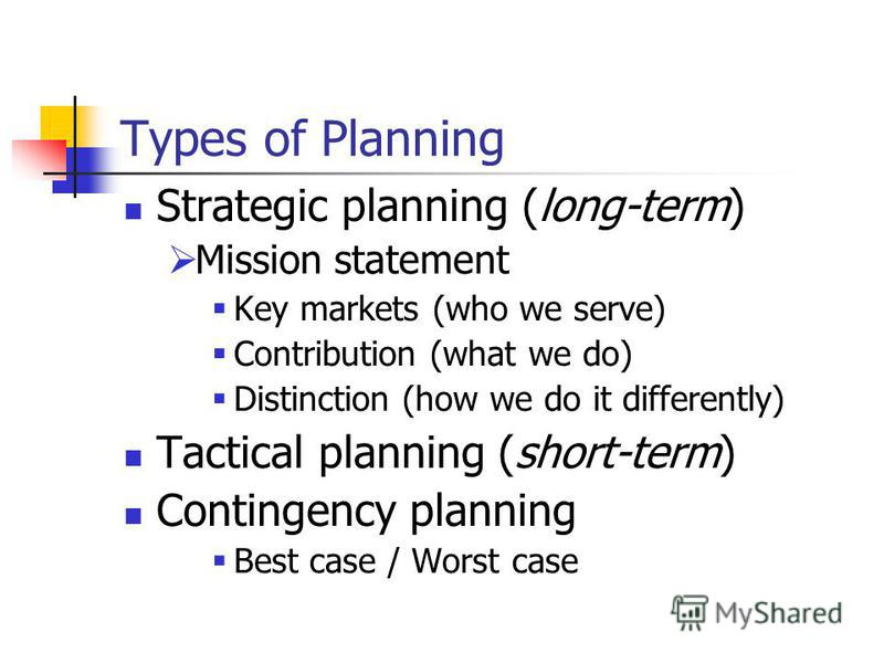 Types of Planning Strategic planning (long-term) Mission statement Key markets (who we serve) Contribution (what we do) Distinction (how we do it differently) Tactical planning (short-term) Contingency planning Best case / Worst case
