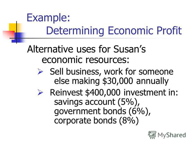 Example: Determining Economic Profit Alternative uses for Susans economic resources: Sell business, work for someone else making $30,000 annually Reinvest $400,000 investment in: savings account (5%), government bonds (6%), corporate bonds (8%)