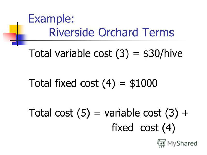 Example: Riverside Orchard Terms Total variable cost (3) = $30/hive Total fixed cost (4) = $1000 Total cost (5) = variable cost (3) + fixed cost (4)