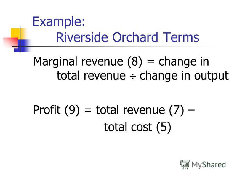 Example: Riverside Orchard Terms Marginal revenue (8) = change in total revenue change in output Profit (9) = total revenue (7) – total cost (5)