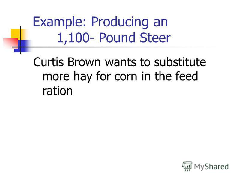 Example: Producing an 1,100- Pound Steer Curtis Brown wants to substitute more hay for corn in the feed ration
