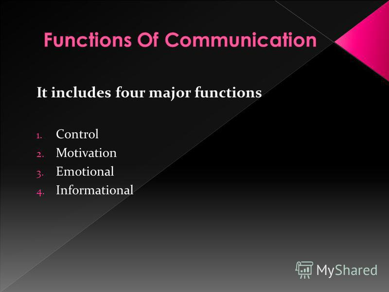 It includes four major functions 1. Control 2. Motivation 3. Emotional 4. Informational