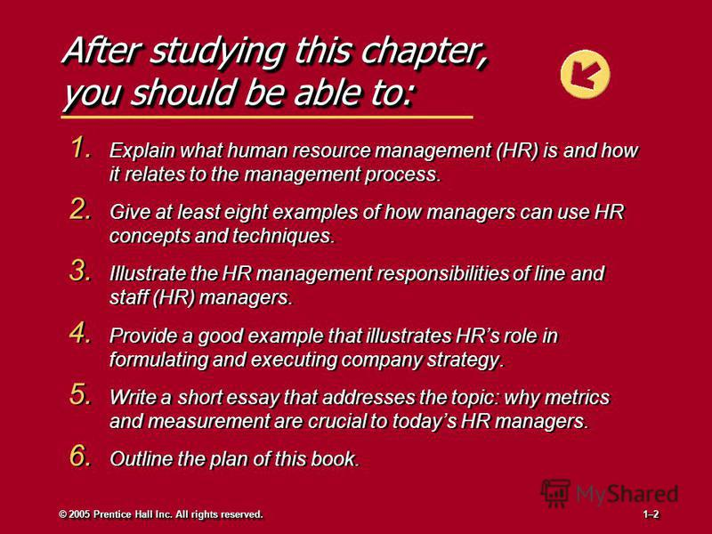 After studying this chapter, you should be able to: 1. Explain what human resource management (HR) is and how it relates to the management process. 2. Give at least eight examples of how managers can use HR concepts and techniques. 3. Illustrate the