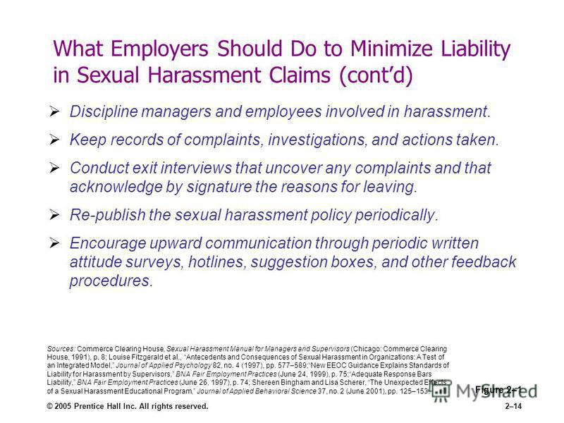 © 2005 Prentice Hall Inc. All rights reserved.2–14 What Employers Should Do to Minimize Liability in Sexual Harassment Claims (contd) Discipline managers and employees involved in harassment. Keep records of complaints, investigations, and actions ta