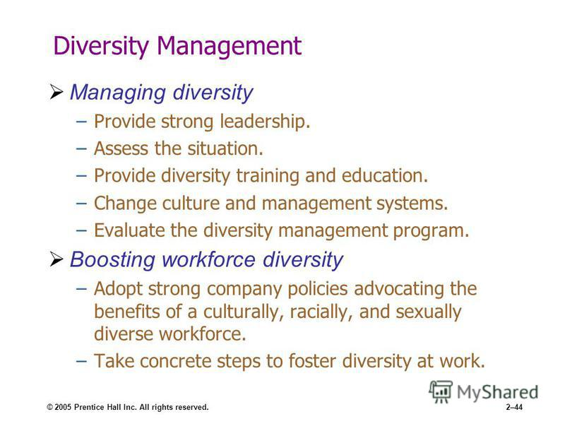 © 2005 Prentice Hall Inc. All rights reserved.2–44 Diversity Management Managing diversity –Provide strong leadership. –Assess the situation. –Provide diversity training and education. –Change culture and management systems. –Evaluate the diversity m