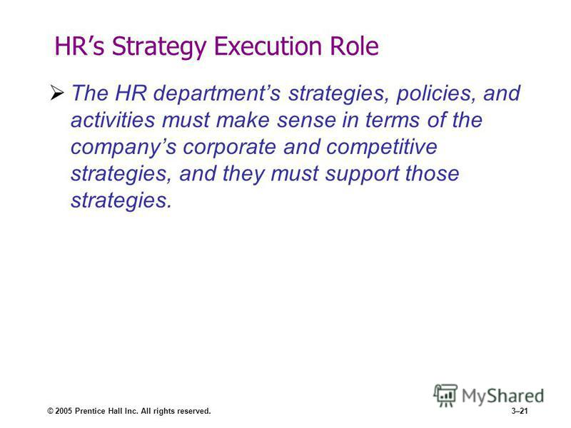 © 2005 Prentice Hall Inc. All rights reserved.3–21 HRs Strategy Execution Role The HR departments strategies, policies, and activities must make sense in terms of the companys corporate and competitive strategies, and they must support those strategi