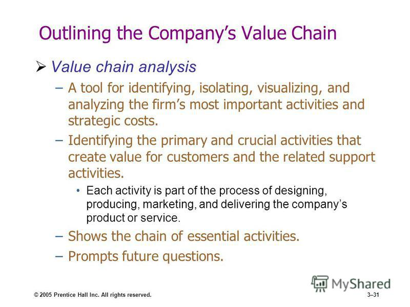 © 2005 Prentice Hall Inc. All rights reserved.3–31 Outlining the Companys Value Chain Value chain analysis –A tool for identifying, isolating, visualizing, and analyzing the firms most important activities and strategic costs. –Identifying the primar