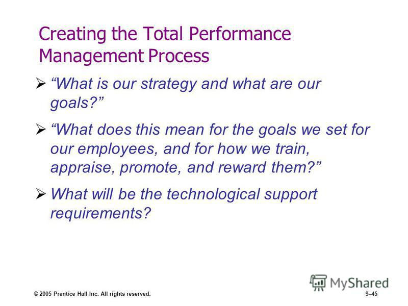 © 2005 Prentice Hall Inc. All rights reserved.9–45 Creating the Total Performance Management Process What is our strategy and what are our goals? What does this mean for the goals we set for our employees, and for how we train, appraise, promote, and