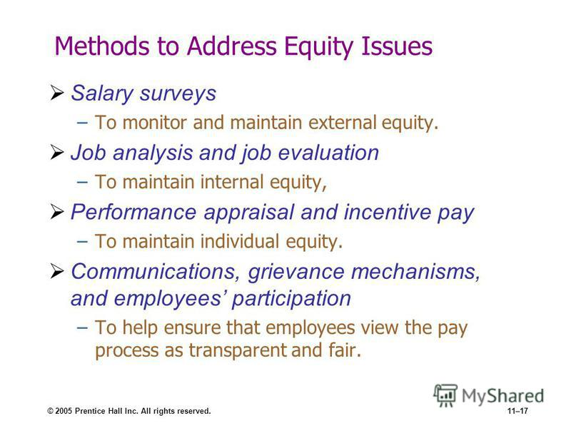 © 2005 Prentice Hall Inc. All rights reserved.11–17 Methods to Address Equity Issues Salary surveys –To monitor and maintain external equity. Job analysis and job evaluation –To maintain internal equity, Performance appraisal and incentive pay –To ma