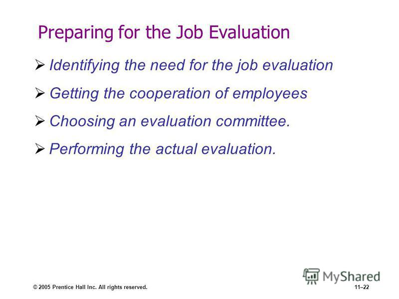 © 2005 Prentice Hall Inc. All rights reserved.11–22 Preparing for the Job Evaluation Identifying the need for the job evaluation Getting the cooperation of employees Choosing an evaluation committee. Performing the actual evaluation.