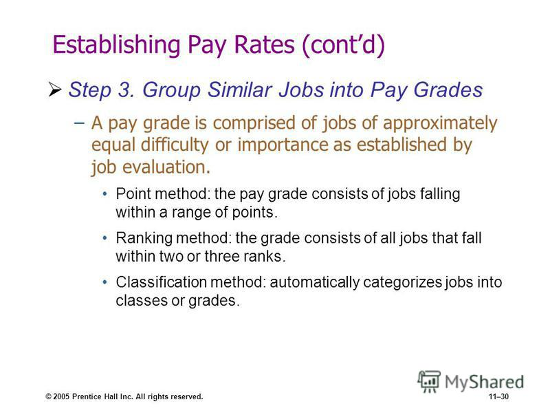 © 2005 Prentice Hall Inc. All rights reserved.11–30 Establishing Pay Rates (contd) Step 3. Group Similar Jobs into Pay Grades –A pay grade is comprised of jobs of approximately equal difficulty or importance as established by job evaluation. Point me