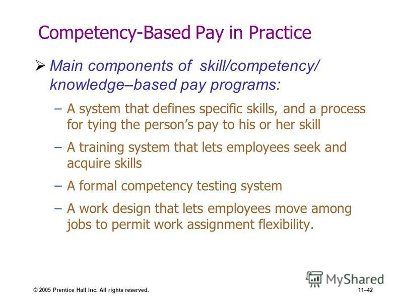 © 2005 Prentice Hall Inc. All rights reserved.11–42 Competency-Based Pay in Practice Main components of skill/competency/ knowledge–based pay programs: –A system that defines specific skills, and a process for tying the persons pay to his or her skil