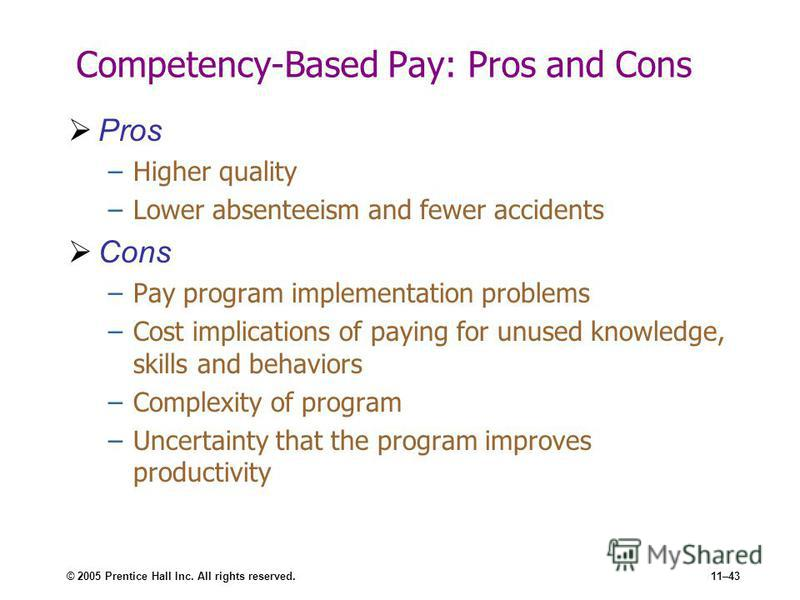 © 2005 Prentice Hall Inc. All rights reserved.11–43 Competency-Based Pay: Pros and Cons Pros –Higher quality –Lower absenteeism and fewer accidents Cons –Pay program implementation problems –Cost implications of paying for unused knowledge, skills an