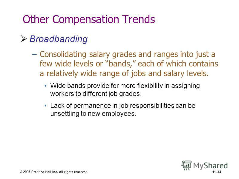 © 2005 Prentice Hall Inc. All rights reserved.11–44 Other Compensation Trends Broadbanding –Consolidating salary grades and ranges into just a few wide levels or bands, each of which contains a relatively wide range of jobs and salary levels. Wide ba