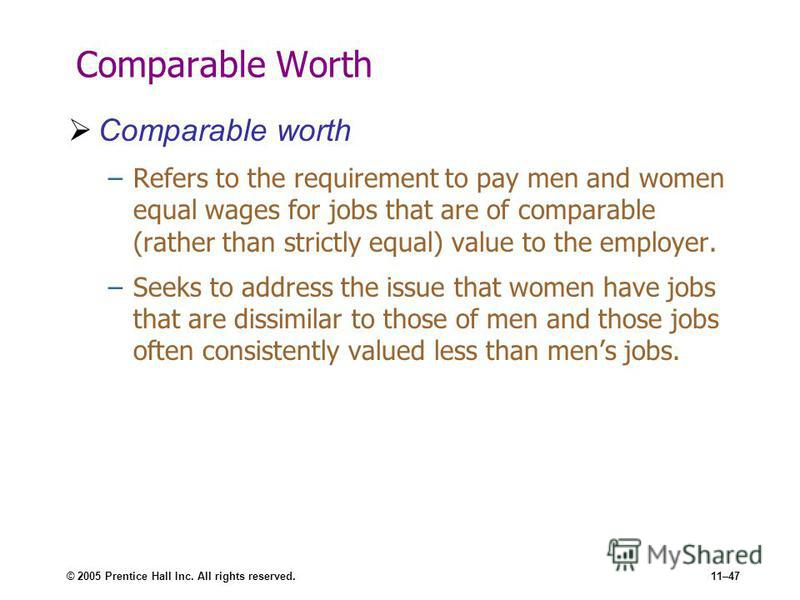 © 2005 Prentice Hall Inc. All rights reserved.11–47 Comparable Worth Comparable worth –Refers to the requirement to pay men and women equal wages for jobs that are of comparable (rather than strictly equal) value to the employer. –Seeks to address th