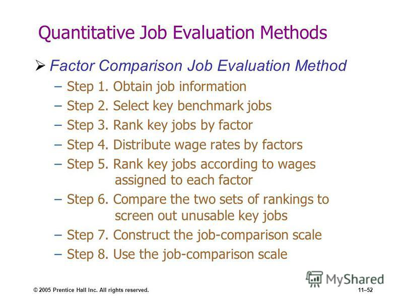 © 2005 Prentice Hall Inc. All rights reserved.11–52 Quantitative Job Evaluation Methods Factor Comparison Job Evaluation Method –Step 1. Obtain job information –Step 2. Select key benchmark jobs –Step 3. Rank key jobs by factor –Step 4. Distribute wa