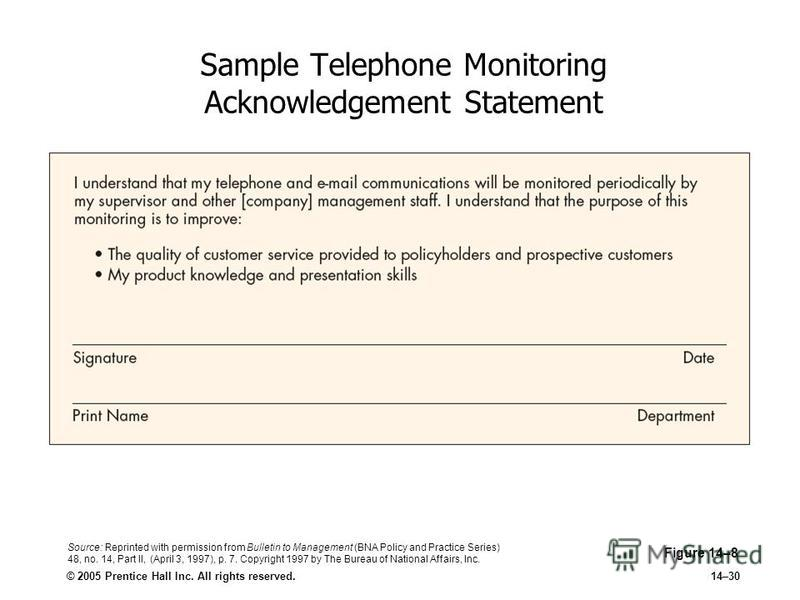 © 2005 Prentice Hall Inc. All rights reserved.14–30 Sample Telephone Monitoring Acknowledgement Statement Figure 14–8 Source: Reprinted with permission from Bulletin to Management (BNA Policy and Practice Series) 48, no. 14, Part II, (April 3, 1997),