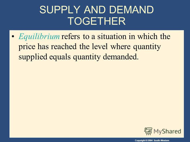 SUPPLY AND DEMAND TOGETHER Equilibrium refers to a situation in which the price has reached the level where quantity supplied equals quantity demanded.