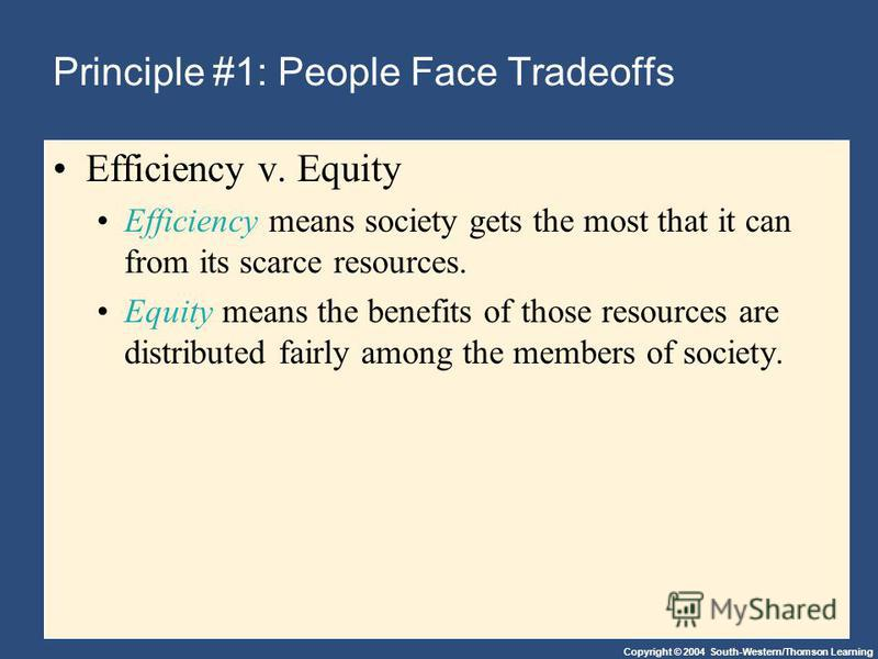 Copyright © 2004 South-Western/Thomson Learning Principle #1: People Face Tradeoffs Efficiency v. Equity Efficiency means society gets the most that it can from its scarce resources. Equity means the benefits of those resources are distributed fairly