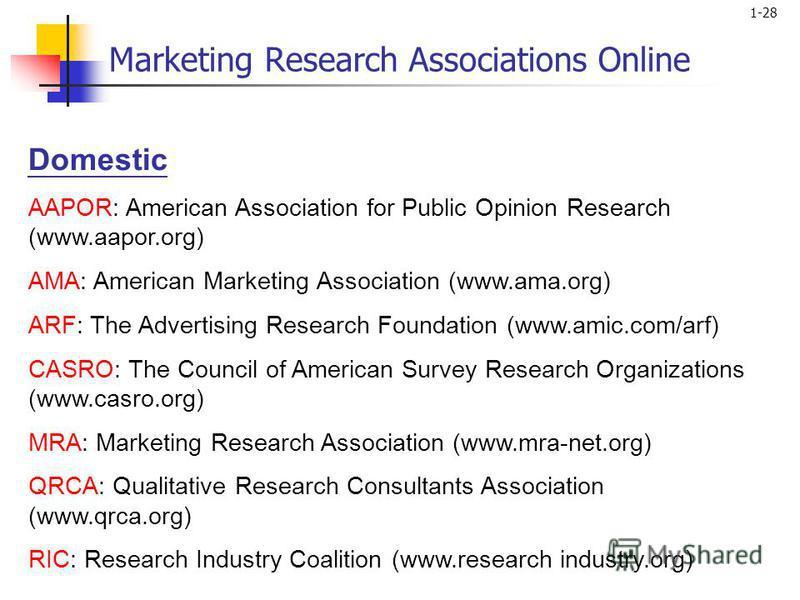 1-28 Domestic AAPOR: American Association for Public Opinion Research (www.aapor.org) AMA: American Marketing Association (www.ama.org) ARF: The Advertising Research Foundation (www.amic.com/arf) CASRO: The Council of American Survey Research Organiz