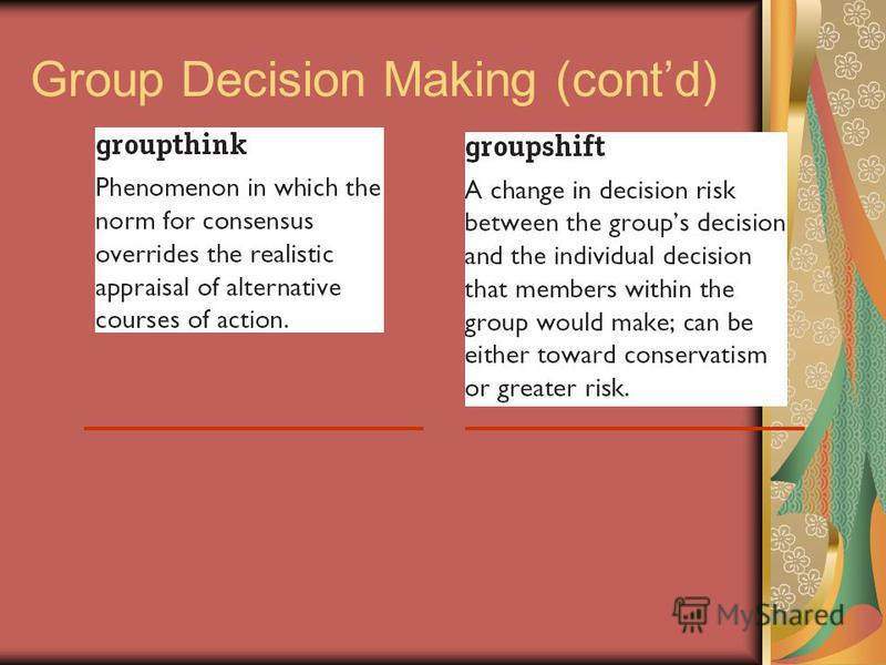Group Decision Making (contd)