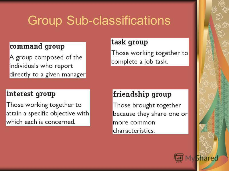Group Sub-classifications
