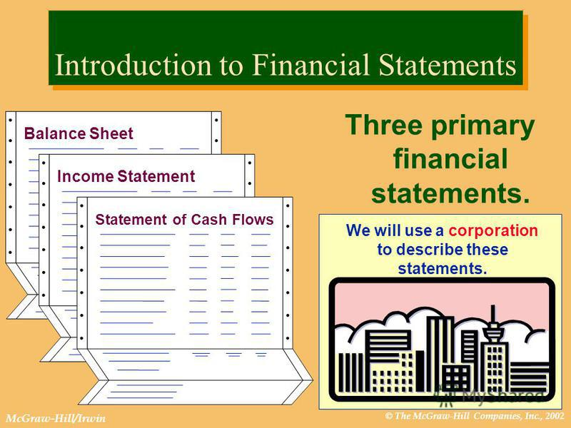 © The McGraw-Hill Companies, Inc., 2002 McGraw-Hill/Irwin Introduction to Financial Statements Three primary financial statements. Income Statement Balance Sheet Statement of Cash Flows We will use a corporation to describe these statements.