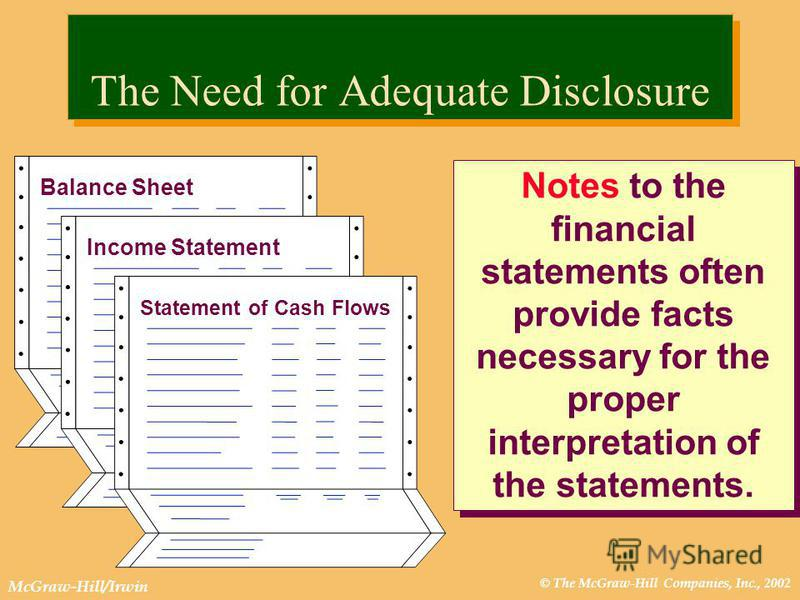 © The McGraw-Hill Companies, Inc., 2002 McGraw-Hill/Irwin The Need for Adequate Disclosure Notes to the financial statements often provide facts necessary for the proper interpretation of the statements. Income Statement Balance Sheet Statement of Ca