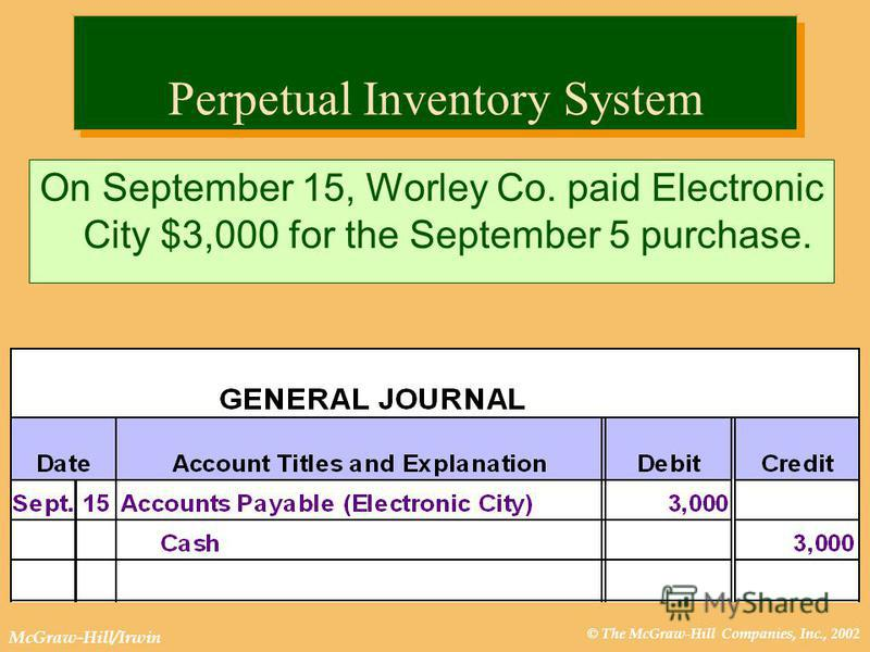 © The McGraw-Hill Companies, Inc., 2002 McGraw-Hill/Irwin Perpetual Inventory System On September 15, Worley Co. paid Electronic City $3,000 for the September 5 purchase.