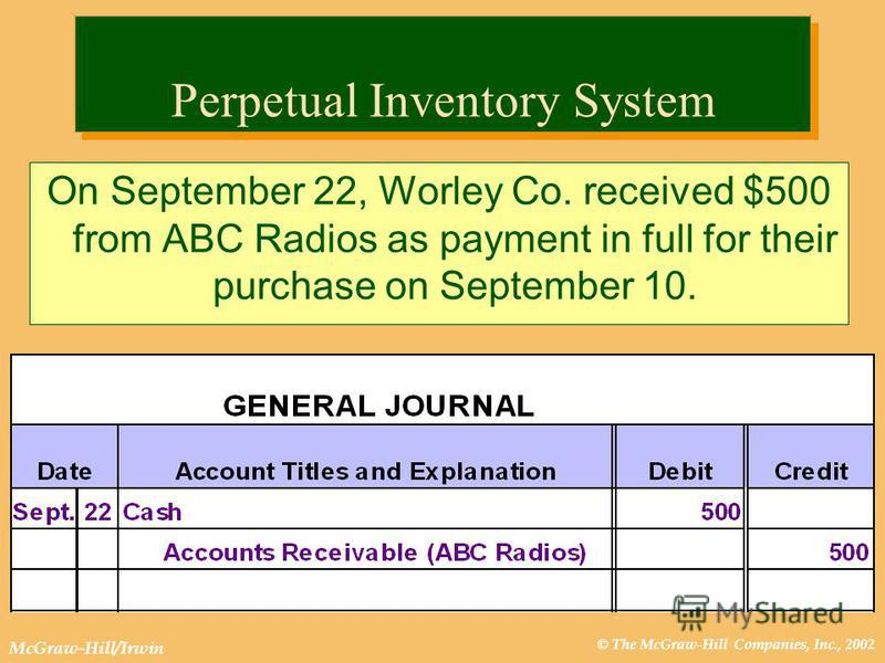 © The McGraw-Hill Companies, Inc., 2002 McGraw-Hill/Irwin Perpetual Inventory System On September 22, Worley Co. received $500 from ABC Radios as payment in full for their purchase on September 10.