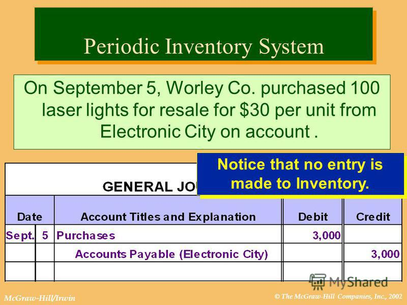 © The McGraw-Hill Companies, Inc., 2002 McGraw-Hill/Irwin Periodic Inventory System On September 5, Worley Co. purchased 100 laser lights for resale for $30 per unit from Electronic City on account. Notice that no entry is made to Inventory.
