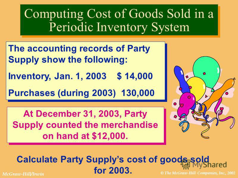 © The McGraw-Hill Companies, Inc., 2002 McGraw-Hill/Irwin Computing Cost of Goods Sold in a Periodic Inventory System The accounting records of Party Supply show the following: Inventory, Jan. 1, 2003 $ 14,000 Purchases (during 2003) 130,000 The acco