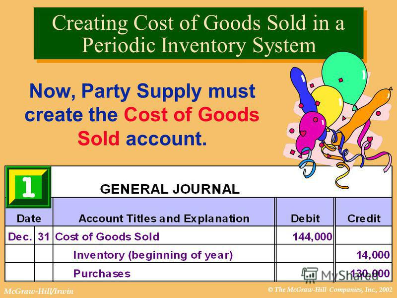 © The McGraw-Hill Companies, Inc., 2002 McGraw-Hill/Irwin Creating Cost of Goods Sold in a Periodic Inventory System Now, Party Supply must create the Cost of Goods Sold account.