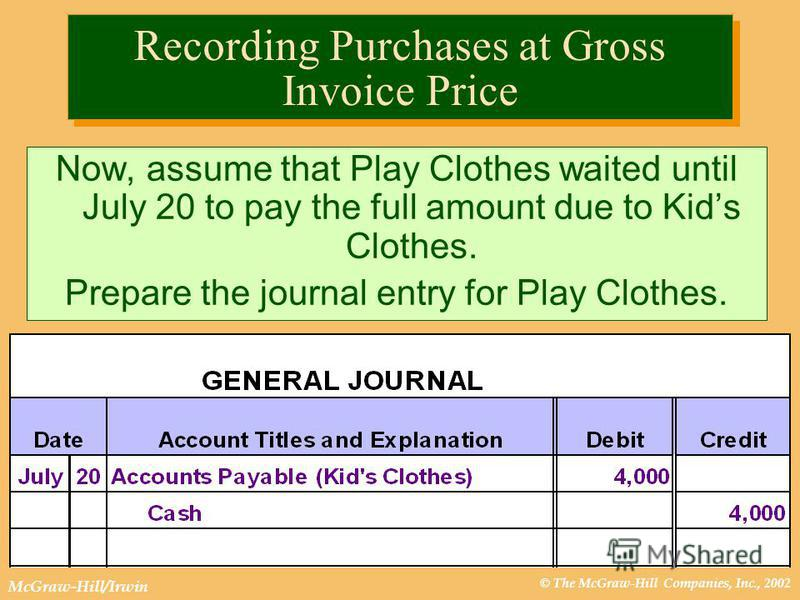 © The McGraw-Hill Companies, Inc., 2002 McGraw-Hill/Irwin Recording Purchases at Gross Invoice Price Now, assume that Play Clothes waited until July 20 to pay the full amount due to Kids Clothes. Prepare the journal entry for Play Clothes.