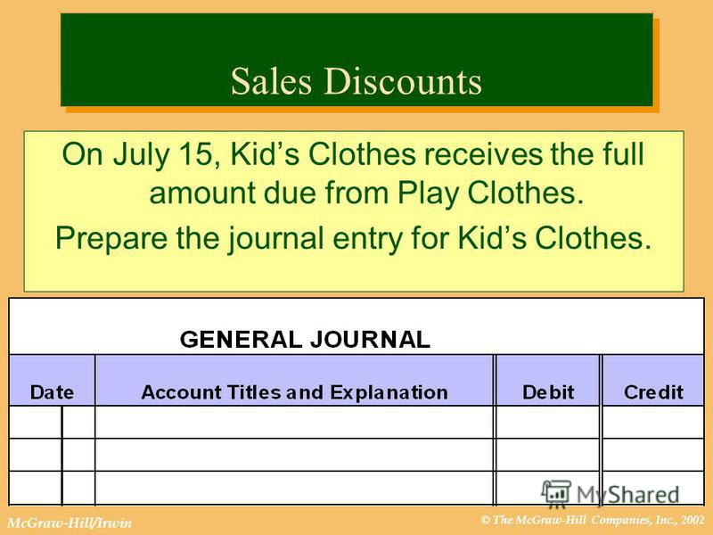 © The McGraw-Hill Companies, Inc., 2002 McGraw-Hill/Irwin Sales Discounts On July 15, Kids Clothes receives the full amount due from Play Clothes. Prepare the journal entry for Kids Clothes.