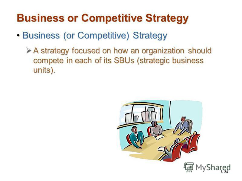 8–24 Business or Competitive Strategy Business (or Competitive) StrategyBusiness (or Competitive) Strategy A strategy focused on how an organization should compete in each of its SBUs (strategic business units). A strategy focused on how an organizat