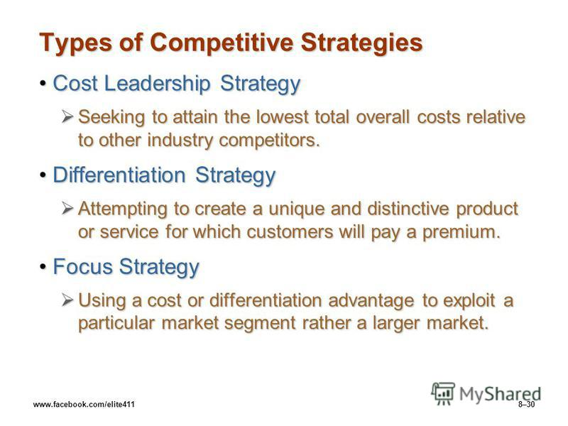www.facebook.com/elite4118–30 Types of Competitive Strategies Cost Leadership StrategyCost Leadership Strategy Seeking to attain the lowest total overall costs relative to other industry competitors. Seeking to attain the lowest total overall costs r