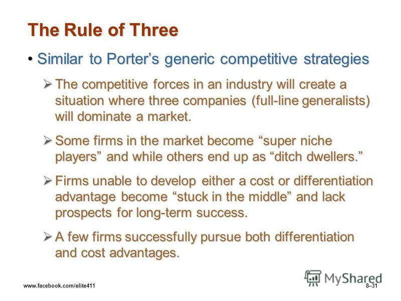 www.facebook.com/elite4118–31 The Rule of Three Similar to Porters generic competitive strategiesSimilar to Porters generic competitive strategies The competitive forces in an industry will create a situation where three companies (full-line generali