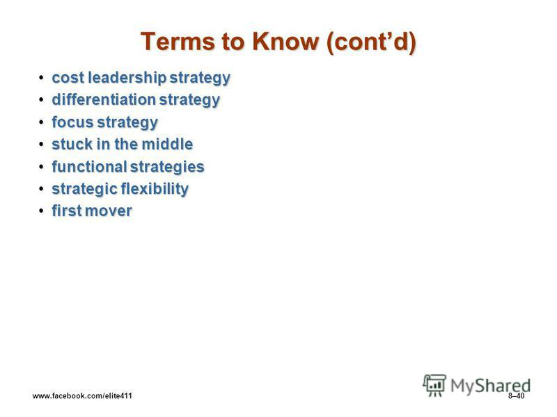 www.facebook.com/elite4118–40 Terms to Know (contd) cost leadership strategycost leadership strategy differentiation strategydifferentiation strategy focus strategyfocus strategy stuck in the middlestuck in the middle functional strategiesfunctional