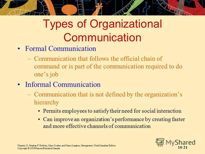 Chapter 10, Stephen P. Robbins, Mary Coulter, and Nancy Langton, Management, Ninth Canadian Edition Copyright © 2009 Pearson Education Canada 10-21 Types of Organizational Communication Formal Communication –Communication that follows the official ch