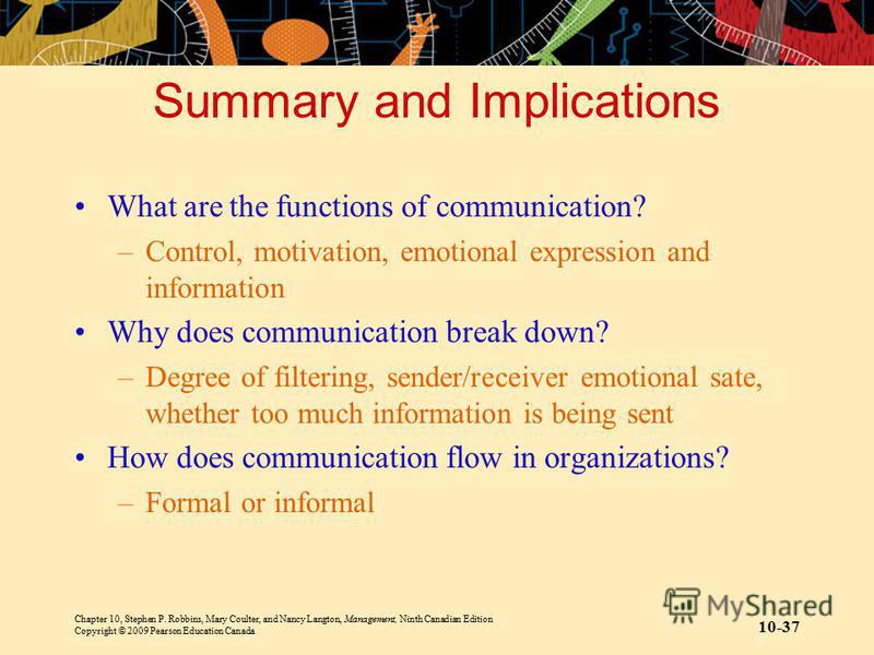Chapter 10, Stephen P. Robbins, Mary Coulter, and Nancy Langton, Management, Ninth Canadian Edition Copyright © 2009 Pearson Education Canada 10-37 Summary and Implications What are the functions of communication? –Control, motivation, emotional expr