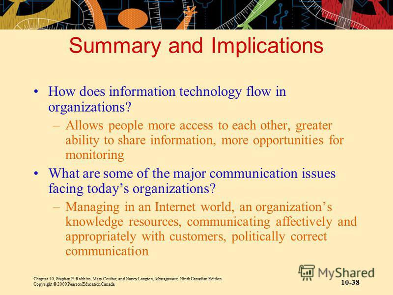 Chapter 10, Stephen P. Robbins, Mary Coulter, and Nancy Langton, Management, Ninth Canadian Edition Copyright © 2009 Pearson Education Canada 10-38 Summary and Implications How does information technology flow in organizations? –Allows people more ac