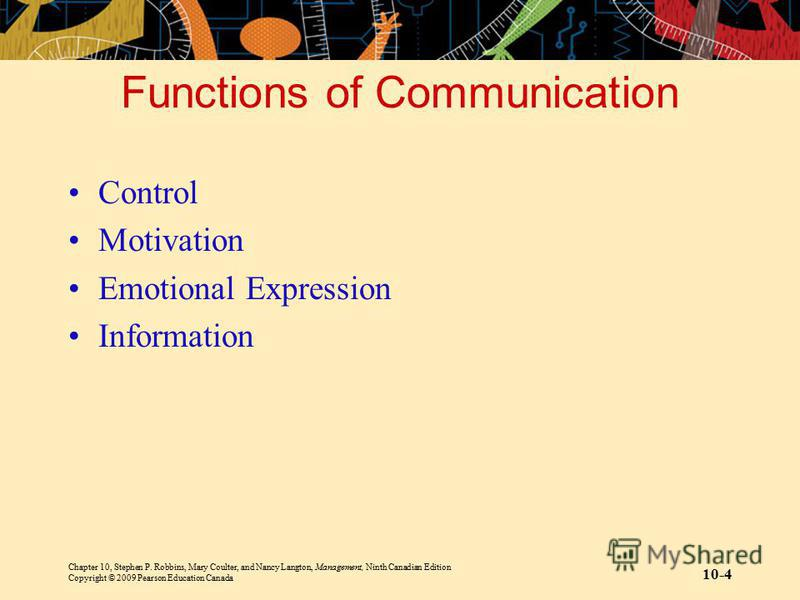 Chapter 10, Stephen P. Robbins, Mary Coulter, and Nancy Langton, Management, Ninth Canadian Edition Copyright © 2009 Pearson Education Canada 10-4 Functions of Communication Control Motivation Emotional Expression Information