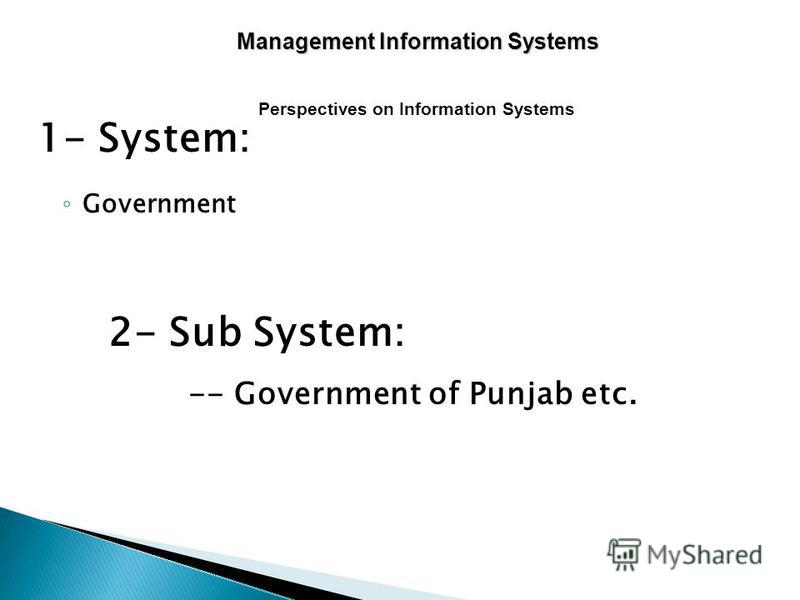 1- System: Government 2- Sub System: -- Government of Punjab etc. Perspectives on Information Systems Management Information Systems